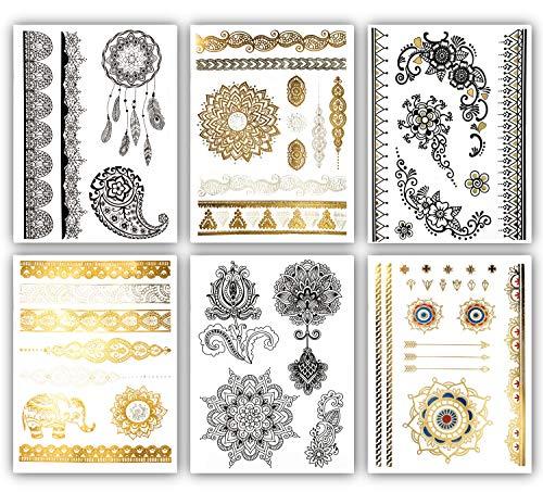 Terra Tattoos Henna Temporary Tattoos - 50 Black Gold Tattoos