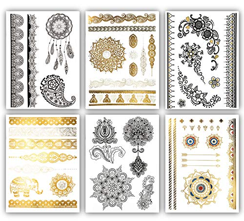 Terra Tattoos Henna Temporary Tattoos - 50 Black Gold Tattoos