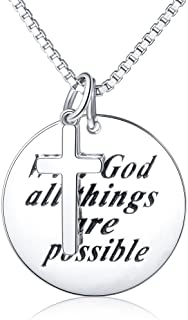 "Sterling Silver Engraved""With God All Things Are Possible""/""I Can Do All Things""Inspirational Cross Necklace"