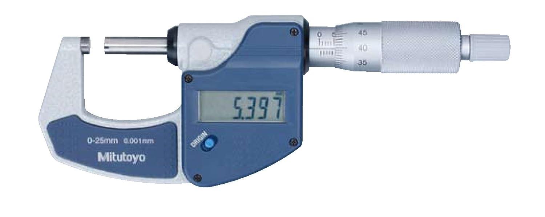 Mitutoyo Digital micrómetro sin salida de datos messbeich 0–25mm, 1pieza, 101166179