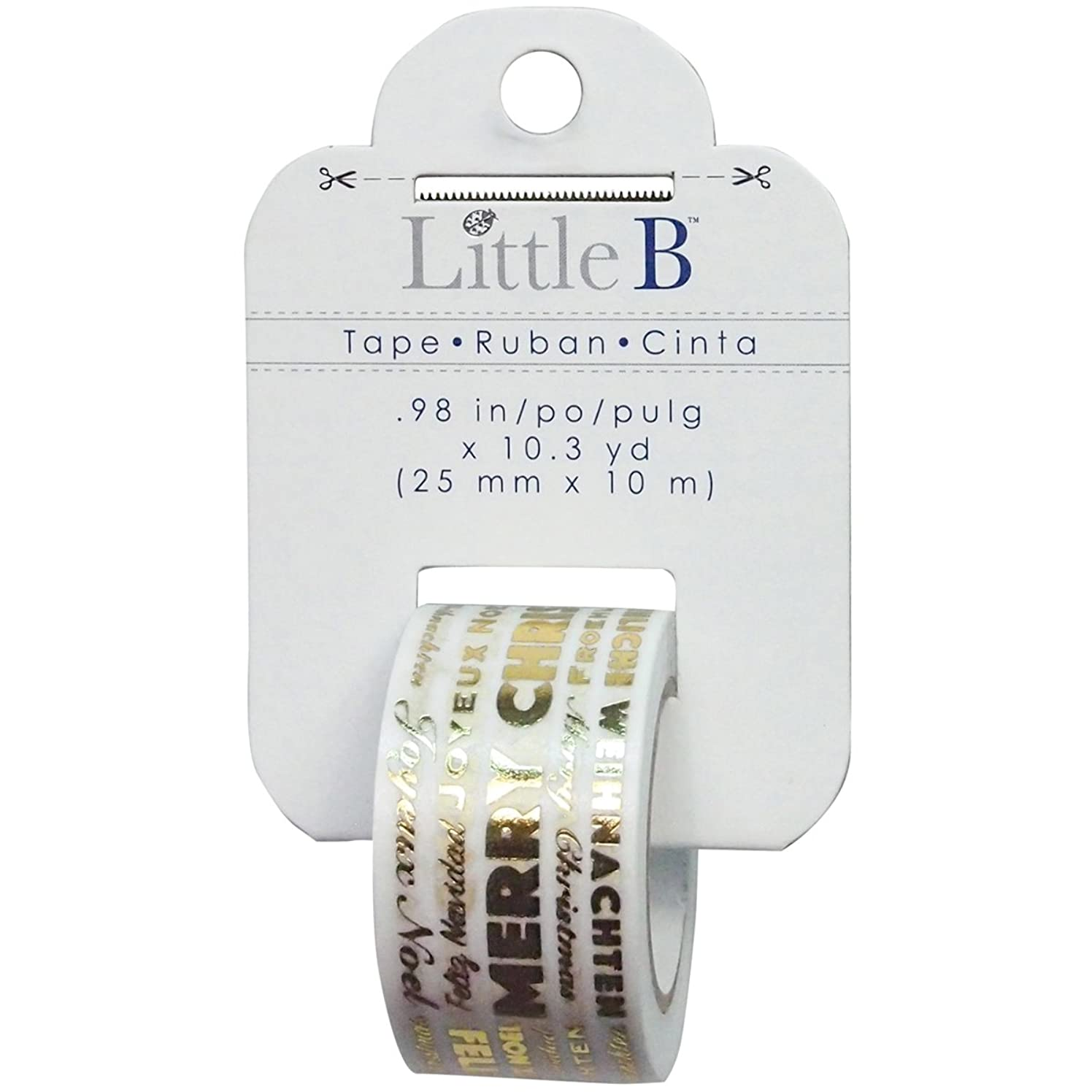 Little B 100765 Decorative Foil Paper Tape, Merry Christmas Word Play Gold Foil