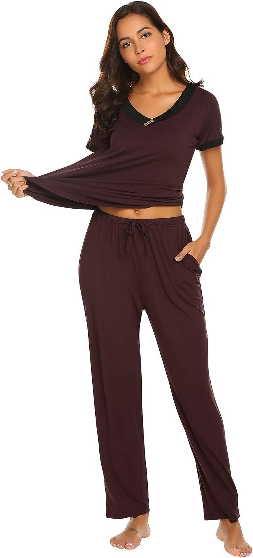Amiyoi Pajamas Women's Short Sleeve Sleepwear VNeck Pajama Top and Long Loungewear Pants Pj Set SXXL