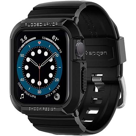 Spigen Apple Watch バンド 44mm 一体型 ケース カバー 耐衝撃 PC TPU 二重構造 スポーツバンド 落下 衝撃 吸収 耐久性 傷防止 SE/Series 6 / Series 5 / Series 4 対応 ラギッド・アーマー プロ 062CS25324 (ブラック)