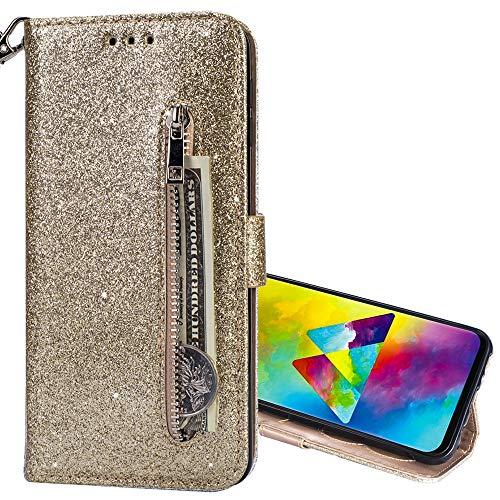 Nadoli Glitzer Handyhülle für Huawei P30 Lite,Reißverschluss Kartentaschen Entwurf Hell Glänzen Magnetverschluss Flip Bling Schutzhülle Etui im Brieftasche-Stil für Huawei P30 Lite