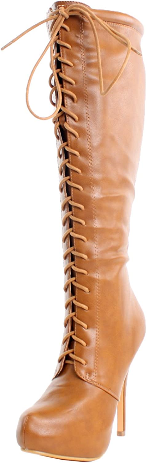 Nature Breeze Womens Amber-04 High Platform Stiletto Heel Lace Up Boot
