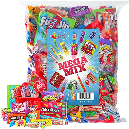 Assorted Candy Party Mix, 5 LB - Fun Size Skittles, Top Box Pop Taffy Pops, Fun Dip, and Much More!…