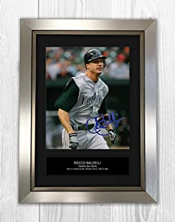 Rocco Baldelli - Tampa Bay Rays - MLB 1 MT - Signed Autograph Reproduction Photo A4 Print(Silver Frame)