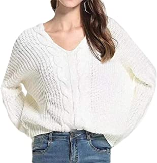 Womens Long Sleeve Knitted V Neck Casual Warm Pullover Outwear Jumper Sweaters