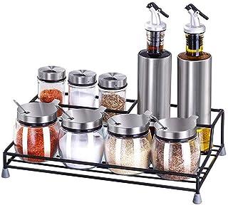 SMEJS Bouteille en Verre Assaisonnement, Verre Pot Leakproof Assaisonnement Bouteille Set Ménage Inverted Réservoir Cuisine