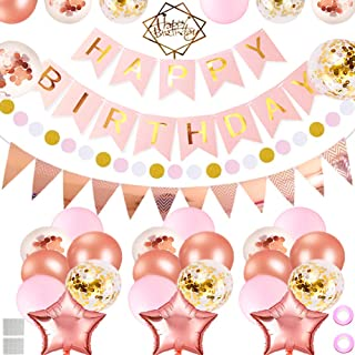 Birthday Decoration Party Supplies, TuoFang Pink and Gold Birthday Decorations, Happy Birthday Banner, 31 Birthday Party Balloons, Cake Topper, Flowers Clips, Party Supplies for Kids Girl
