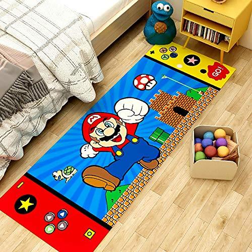 GOOCO Super Mario-Alfombra De Dibujos Animados Habitación De Los Niños Sala De Estar Dormitorio Mesita De Noche Alfombra Antideslizante Creativa