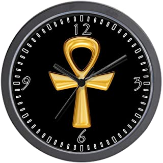 BCWAYGOD Egyptian Gold Ankh Black Wall Clock Nice for Gift or Office Home Unique Decorative Clock Wall Decor with Frame 10...