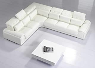 Contemporary White Leather Sectional Sofa w Adjustable Headrest and Pillows T93C