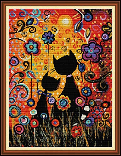 YEESAM ART Cross Stitch Kits Stamped for Adults Beginner Kids, Black Cats Flowers Sunset 11CT 50×64cm DIY Embroidery Needlework Kit with Easy Funny Preprinted Patterns Needlepoint Christmas (Cats)