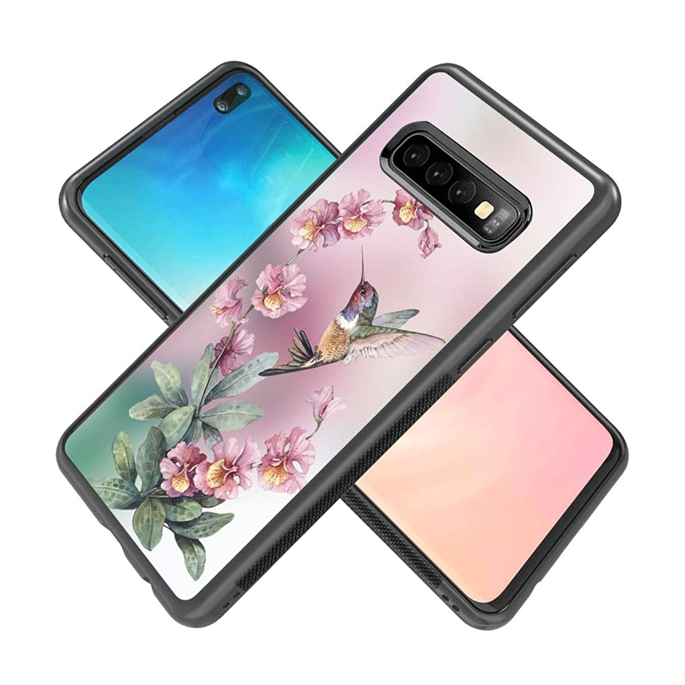 Samsung Galaxy S10 Plus Case, Beautiful Hummingbird Drawing Soft Black TPU Rubber and PC Anti-Slip Grip Cover Case, Shockproof Defend Protective Phone Case for Samsung Galaxy S10 Plus