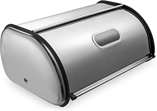 Deppon Bread Box for Kitchen Counter, Matte Stainless Steel Bread Storage Bin Container with Roll up Lid, Fingerprint Proof, Large Capacity Holds 2 Loaves, 17.5 x 11 x 7.5 Inches, 2nd Generation
