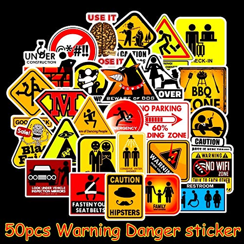 Waarschuwing Stickers gevaar Banning Tekenen Herinnering Stickers Voor Laptop Skateboard Bagage Decal Office Waterdichte Stickers 50 stks