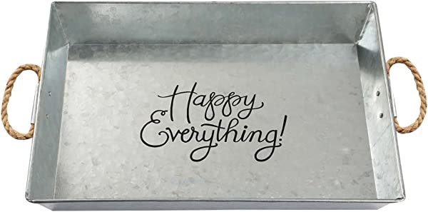 Brownlow Gifts Happy Everything Large Galvanized Metal Serving Tray