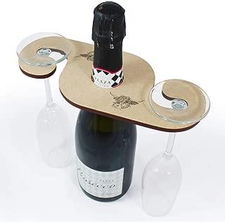 Azeeda 'Highland Cow' Wooden Wine Glass / Bottle Holder (GH00012495)