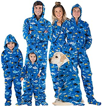 Footed Pajamas - Family Matching School of Sharks Hoodie Onesies for Boys Girls Men Women and Pets - Adult - Medium  Fits 5 8-5 11