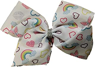 Jojo Siwa Bow Large Signature Collection - White with Rainbows, Hearts and Butterfly w/Rhinestone Center