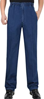 Youlee Uomo Vita Elastica Pantaloni Dritti Jeans