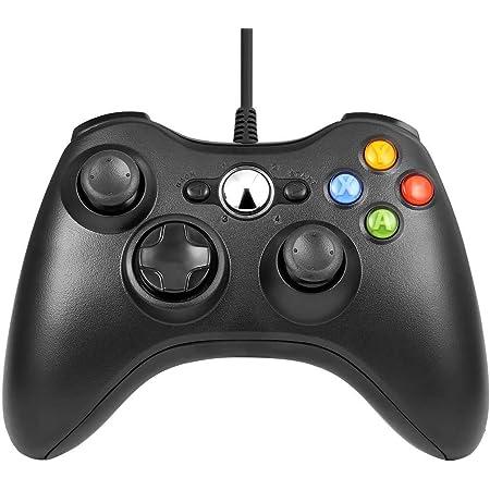 Manette Xbox 360 - Manette Xbox PC Joystick pour Xbox 360 et Windows 7/8/10 Connection USB - Design Ergonomique - Double Vibration - Id¨¦al pour vos sessions de jeux sur Xbox et PC