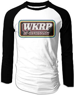 Men's Printing Logo WKRP in Cincinnati Raglan Long Sleeve Baseball T Shirts
