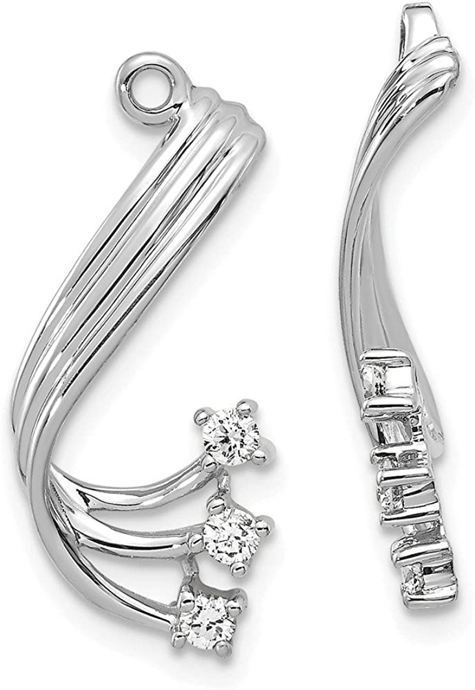 Solid 14k White Gold Diamond earring jacket - 22mm x 10mm (.21 cttw.)