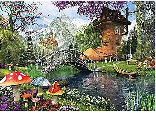 DIY 5D Diamond Painting by Number Kit, Full Diamond, Boots House Rhinestone Embroidery Cross Stitch Arts Craft for Home Wall Decor 16x20 inch