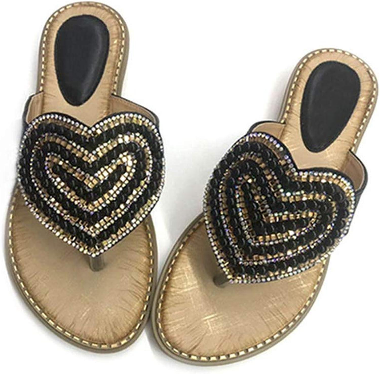 Btrada Heart Shaped Crystal Clip Toe Sandals Women Mixed colors Wedges Flip Flops Slides Summer Slippers