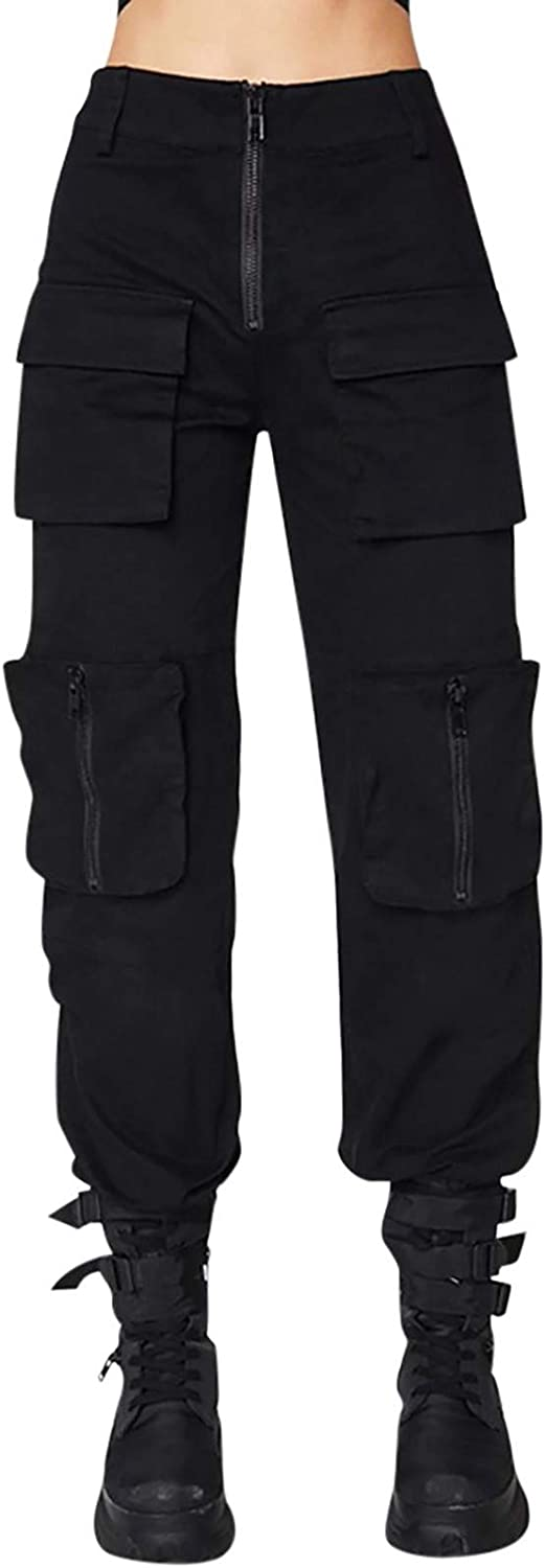 ovticza Women's Cargo Pants, Casual Outdoor Slim Fit High Waisted Baggy Jogger Workout Pants with Matching Belt