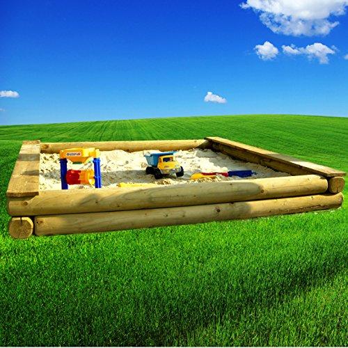 Spiel&Garten XXL großer Sandkasten 3x3m Rundholz Ø12cm 300cm große Sandkiste 300x300cm