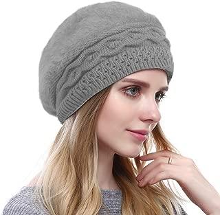 Women's Solid Knit Furry French Beret - Fall Winter Fleece Lined Paris Artist Cap Beanie Hat