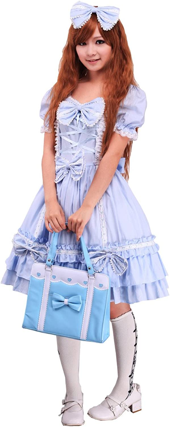 Antaina bluee Cotton Bows Ruffle Lace Sweet Victorian Lolita Dress Headware