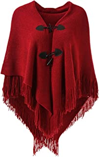 Women's Loose Fitting Poncho Cape Shawl with Stylish Horn Buttons, V Neckline and V Hem