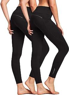 BALEAF Women's Fleece Lined Leggings High Waisted Winter Running Tights Thermal Pocketed Leggings 2 Pack