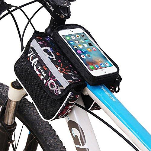 YAJAN-Bikebag Fahrradtasche Mountain Bike Frontstrahl Tasche Oberrohr Tasche Riding Bag Bike Tube Tasche Touchscreen Handytasche (5,5 Zoll),Summerblack