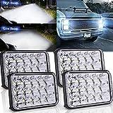 High/Low Sealed Beam Headlights 4x6, 4X Rectangular LED Headlights Assemblies 6x4 H4 Plug H4651 H4652 H4656 H4666 H6545 bulb Headlamps for KW Kenworth T600 W900 T800 Truck Peterbilt 379 Chevy C10