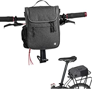 Kisshome Bike Handlebar Bags,Large Capacity Cycling Handlebar Storage Basket Bag Bike Front Bag with Rain Cover and Shoulder Strap