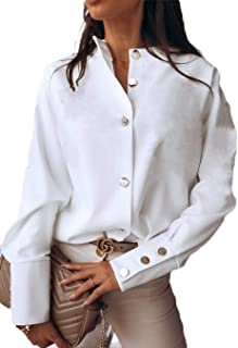 GUOCAI Womens Tops Long Sleeve Button Up Solid Blouse Shirts