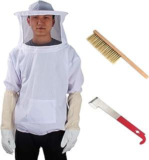 Yodensity Professionelle Bienenzucht belüftet Set Jacke mit Schleier  Handschuhe  Schaber  Bienenpinsel für Imker