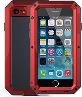 iPhone 6 Plus/6S Plus Case,Mangix Gorilla Glass Aluminum Alloy Protective Metal Extreme Shockproof Military Bumper Finger Scanner Cover Shell Case for Apple iPhone 6 Plus/6S Plus 5.5inch (Red)