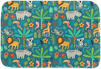 EGGDIOQ Doormats Seamless Pattern Jungle Animals Custom Print Bathroom Mat Waterproof Fabric Kitchen Entrance Rug, 23.6 x 15.7in