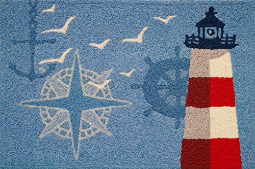 Jellybean Ocean Outpost Red White Lighthouse Compass Anchor Accent Rug