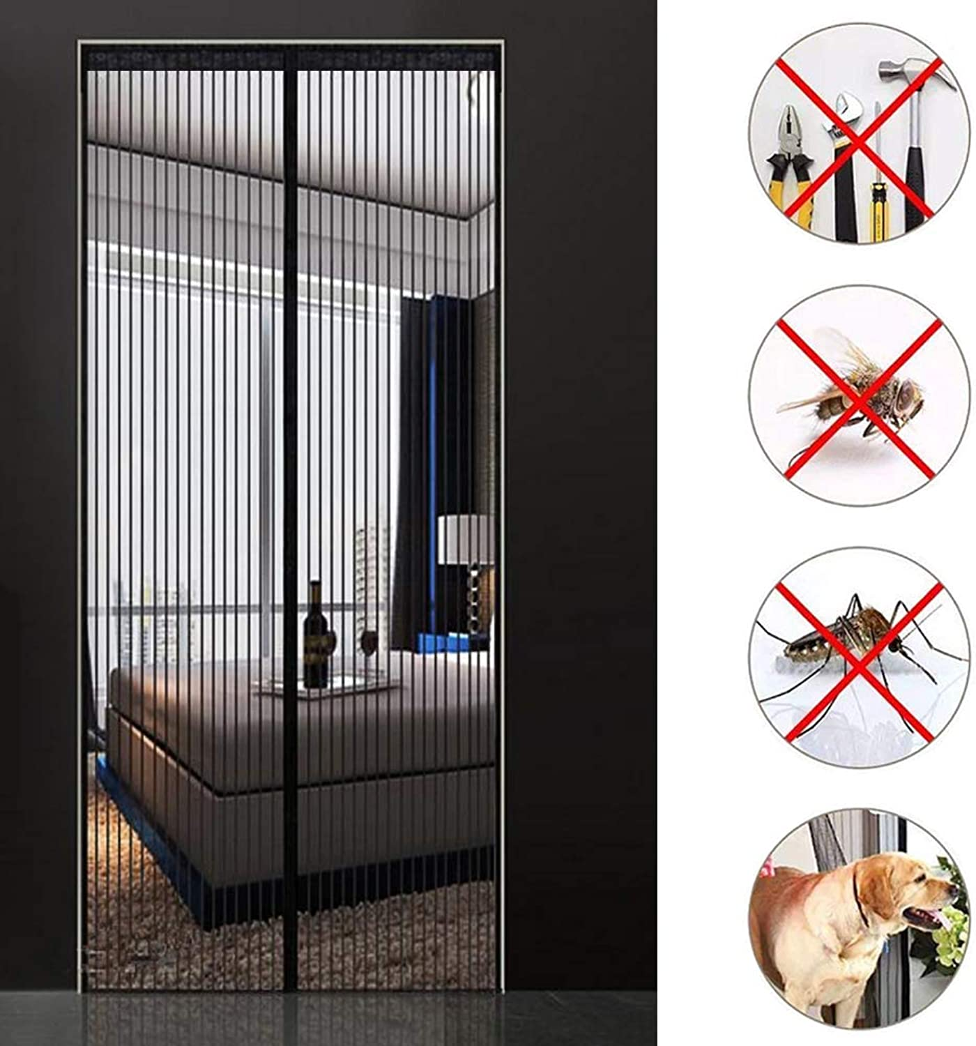 Magnetic Screen Door, Screen Easy to Install Without Drilling, Heavy Duty Screen Bug Mesh Curtain Fly Screens, Keep Bugs Out Lets Fresh Air in, Fits Door Up to 165(W) x 225(H) cm