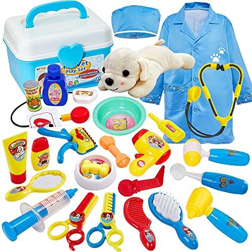 Buyger 2 en 1 Maletin Medicos Veterinaria y Cuidado de Mascotas Juguetes Perrito Veterinaria Enfermería Doctora Kit Juego de rol Regalos para Niños Niñas 3 4 5 Años