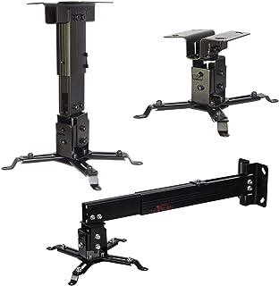 Luxburg® kit de Support Mur/Plafond Universel en Aluminium pour Projecteur 43-65cm - soutient 15kg 30 degrés Noir