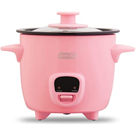 Dash Mini Rice Cooker Steamer with Removable Nonstick Pot, Keep Warm Function & Recipe Guide, 2 cups, for Soups, Stews, Grains & Oatmeal - Pink