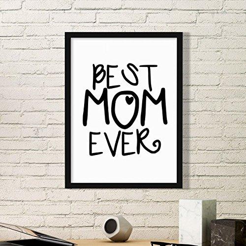 DIYthinker Mejor mamá Nunca Palabras Cotizaciones Día de Fotos Marco Simple de la Madre de la Familia de Cuadros de Pinturas casera de la Pared Pequeño Negro